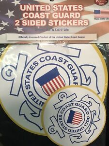 2 Pack NIP NEW United States COAST GUARD 2 Sided Stickers Cape May NEW LONDON