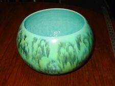 "Speckled Ceramic Bowl 7"" x 10"" Retro Glazed Handmade Blue Green Vintage"
