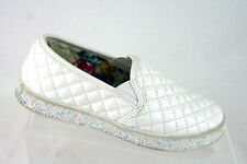Madden Girl Casual Quilted Shoes Youth Slip-on White with Sparkle Flat Sole Sz 2