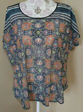 Clover Canyon women's small top boho high low sheer floral wing sleeve sheer