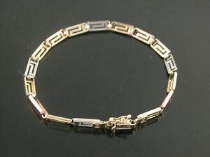 Ladies 3 Colour 14ct Gold Fancy Link Bracelet.