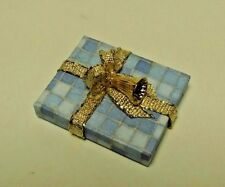 Dollhouse Miniature Handcrafted Christmas Holiday Gift Package Blue & Gold 1:12