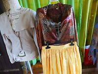 T2  femme fillette    lot jupe  soie jaune +,2corsages====  a saisir
