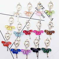2Pcs Ballerina Ballet Dancer Dancing Girls Tutu DIY Crystal Necklace Pendant