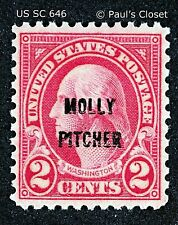 "US SC 646 2¢ WASHINGTON CARMINE ""MOLLY PITCHER"" 1928 MLH OG  P 11x10½ F/VF"