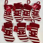 """Wondershop Initial Monogram Knit Mini Stocking 7"""" Xmas Red White I,N,O,Q,U,X,Y photo"""