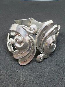 Vintage AV Alfredo Villasana Taxco Sterling Silver Cuff Clamper Bracelet (51)