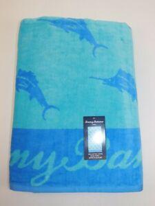 NWT $69 TOMMY BAHAMA 36x68 Turquoise Blue MARLIN Velour Beach Towel