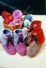 WARM BOOT SLIPPERS to KNIT & FELT - 4 SIZES - by BEV GALESKAS of FIBER TRENDS