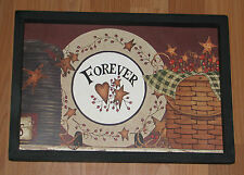 "PRIMITIVE COUNTRY POTTERY FOREVER BARN STAR HEART BASKET BERRIES 9"" X 13"" DECOR"