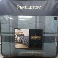 Pendleton Home Collection Bayshore Plaid Queen Comforter Set (Shale/Navy) ~NEW~