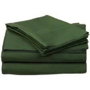 1000 Thread Count 8,10,12,15 Inch Deep Pkt Hunter Green Solid Bedding Set