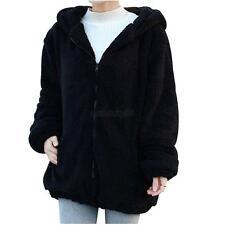 Cute Women Fleece Loose Fluffy Bear Ear Hooded Jacket Girl Warm Coat Outwear Top