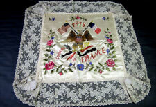 """27"""" Wwi Pillow Cover 1918 French & American Flags Eagle Lace Hand Embroidery"""