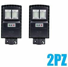 2PZ LAMPIONE STRADALE FARO A LED 40W PANNELLO SOLARE TELECOMANDO CREPUSCOLARE