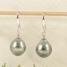 14k White Solid Gold Diamonds Tahitian Pearl Dangle Hook Earrings TPJ