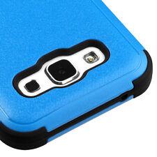 For SAMSUNG Galaxy E5 BLUE BLACK TUFF RUBBER SKIN COVER CASE + SCREEN PROTECTOR