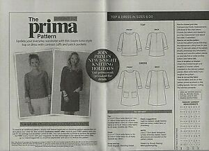 Prima Top and dress Sewing Pattern Sizes 10-20 uncut May 2021 very easy