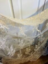 3 MTR (NEW) GOLD SCALLOPED EMBROIDED SEQUENCE BRIDAL LACE NET FABRIC £29.99