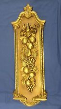 "1917Mj Vtg Syroco Huge 42"" Tall Gold Finish Carved Fruit Motif Wall Hanging Exc!"