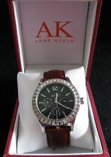 Anne Klein Brown Leather Band Crystal on Bezels Black Dial Quartz Watch 10/9317