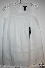 GAP Kids NWT Mädchen XS 4 5 elfenbein ärmellos Dobby Kleid mit Stickerei & Lochstickerei