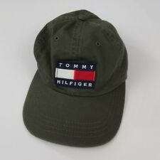 Vintage 90s Tommy Hilfiger Flag Patch Hat Green Leather Strap Rare USA