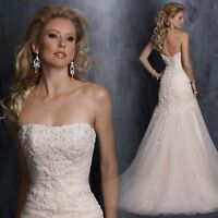 2014 NEW Ivory/white Strapless  Long Tulle  Applique Mermaid/Trumpet Bridal Gown