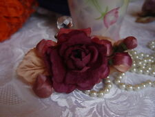 MILLINERY FLOWERS - BURGUNDY & PINK SPRAY OF ROSES & BUDS - GREGORY LADNER