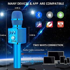Bonaok Wireless Bluetooth Karaoke Microphone Portable Handheld Speaker Blue