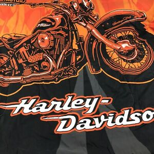 Harley-Davidson Reversible Twin Comforter Set Flame Rider Logo Biker Shield kids