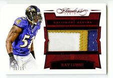2016 Ray Lewis Flawless GU Patch /15 Ravens Jumbo Prime Game Used SSP Ruby Red