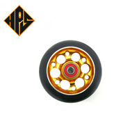 2X PRO STUNT SCOOTER GOLD DRILLED METAL CORE WHEELS 100mm 88A ABEC 9 BEARING 11