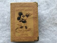 1930's Walt Disney Mickey Mouse Leatherette Book Bank With Key