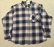 Woolrich Mens Brown 100% Cotton Lightweight Flannel Plaid Long Sleeve Shirt XXL