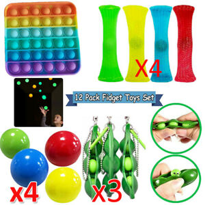 12 Pack Fidget Sensory Toys Set Stocking Stuffer For Stress Relief Anti-Anxiety