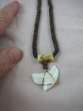 "(s5-15) 1-1/4"" Modern TIGER SHARK TOOTH 19"" brown aceh bovine cow bone NECKLACE"