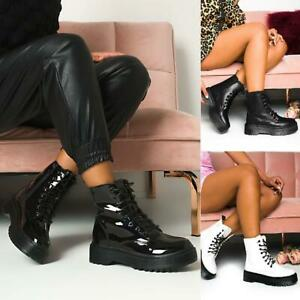 Womens Ladies Chunky Lace Up Ankle Boots Platform Icon Retro Punk Goth Black New