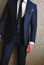 Hot Sale Navy Groom Wedding Suits 3 Piece Business Party Prom Man Formal Tuxedos