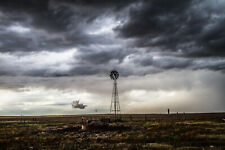 Photography Print of Old Windmill Under Stormy Sky in Oklahoma