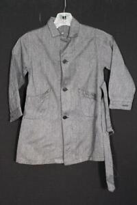 VINTAGE CHILD DEADSTOCK 1940'S-50'S FRENCH DARK GREY COTTON WORK JACKET SIZE 5-6