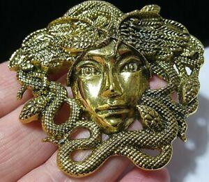 Large Vintage Style Jewellery Gold tone MEDUSA Snake Lady Statement Brooch Pin