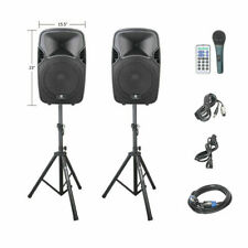 Proreck Portable 12 Inch 1000W 2-Way Powered PA Speaker System Black