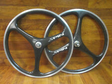 "RARE VINTAGE SPIN TRI SPOKE CARBON 26"" CLINCHER 8 9 10 SPEED WHEEL SET"