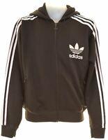 ADIDAS Mens Hoodie Sweater Medium Black Polyester  KY12