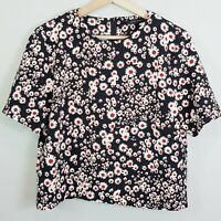 [ ZARA ] Womens Floral Print Cropped Top - As New  | Size L or AU 14 / US 10