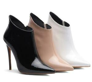 Fashion Womens Pointed Toe Ankle Boots High Heels Sexy Stiletto Zip Shoes Party