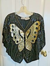 Vintage Shomax Sequin Black & Gold Butterfly Top / Batwing Pure Silk Blouse