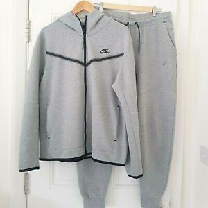 Nike Tech Grey Fleece Full Tracksuit Size L Zip Hooded Jacket & Tech Joggers