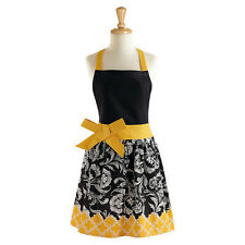 BLACK & YELLOW RIVIERA Retro Chic Apron with Bow, 100% Cotton, by DII
